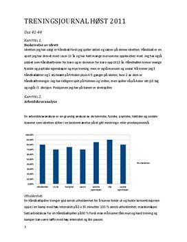 Treningsjournal for håndball | Egentreningsrapport
