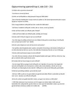 Oppsummeringspørsmål | Grip teksten, kap 5