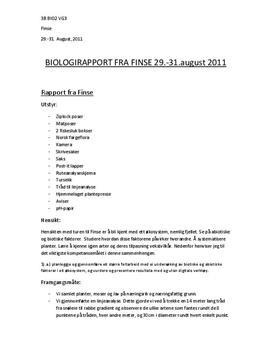 Biologirapport fra Finse (Feltarbeid)