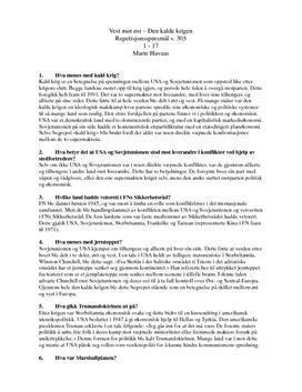 Repetisjonsspørsmål | Den kalde krigen
