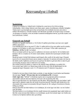 Generell arbeidskravsanalyse i fotball