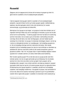 Russetiden i et sosialpsykologisk perspektiv   Essay