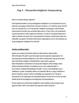 Kap. 3 Menneskerettigheter | Juss 2 | Sammendrag