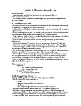 Menneskets immunforsvar Kap. 6 Bios 1 Sammendrag