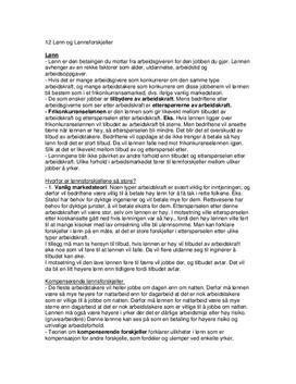 Lønn og lønnsforskjeller Kap. 12 Sammendrag