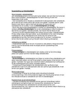 Sysselsetning og arbeidsledighet Kap. 13 Sammendrag