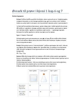 Øveark til prøve i kjemi 1 kap. 6-7 (Kjemien stemmer)