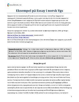 Eksempel på Essay i norsk Vgs