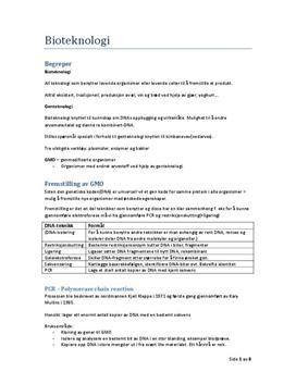 Bioteknologi Kap. 8 - Sammendrag