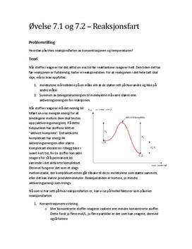 Forsøk 7.1 & 7.2 Reaksjonsfarten påvirkes av konsentrasjon og temperatur   Rapport