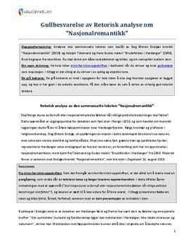 Analyse av sammensatt tekst: Nasjonalromantikk av Dag Øistein Endsjø