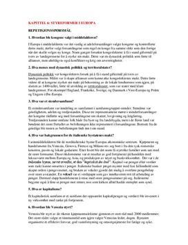 Repetisjonsspørsmål Kap. 6 - Styreformer i Europa