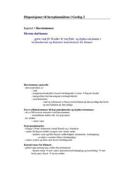 Disposisjoner til læreplanmålene i Geofag 2