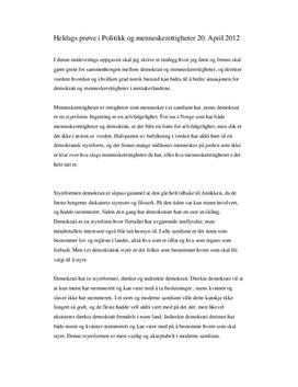 Politikk Heldagsprøve 2012 Demokrati, menneskerettigheter og norsk bistand