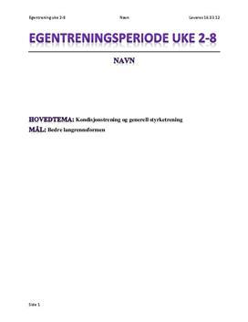 Trening i langrenn | Egentreningsrapport og øktplan