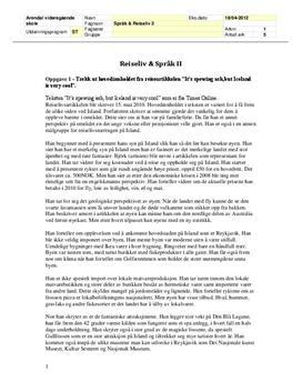 Oppgave i Reiseliv og språk 2 - Island - November 2010
