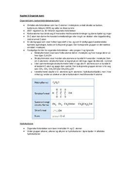 Organisk Kjemi: Sammendrag kapittel 9 Kjemien Stemmer