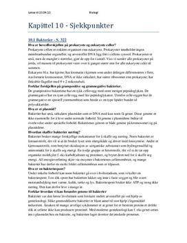 Bakterier og Virus Sjekkpunkter - Kapittel 10, 11 Bi 1