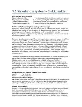 Transportsystemer i mennesket: Sjekkpunkter Kapittel 9