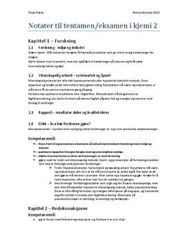 Kjemi 2 - Sammendrag av kapittel 1-4