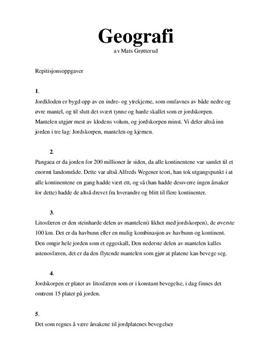 Geografi Kap 2: Repetisjon- og arbeidsoppgaver - Vg1
