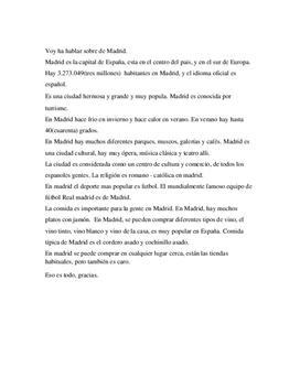 Manus til Spansk 1 framføring om Madrid