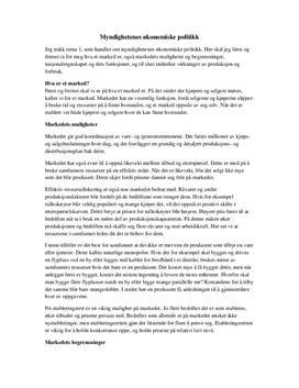 Myndighetenes økonomiske politikk - Samfunnsøkonomi
