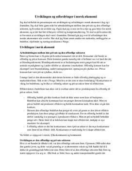 Utvikling og Utfordringer i Norsk økonomi: Samfunnsøkonomi 1