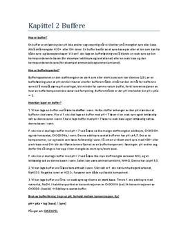 Sammendrag om Buffere - Kapittel 2 i Kjemien Stemmer 2