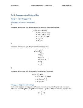 REA3028 Matematikk S2 - 31.05.2011 - Uten Hjelpemidler