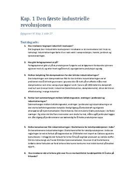 Den første Industrielle revolusjon - oppgaver
