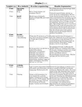 Bevegelighet og utholdenhet | Øktplan