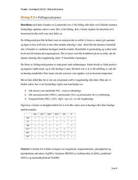 Øving 3.2 – Fellingsreaksjoner - Aqua i Kjemi 1