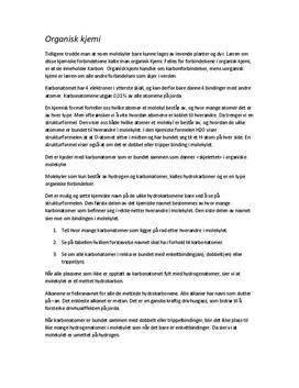 Organisk Kjemi - Øveark til Naturfagsprøve