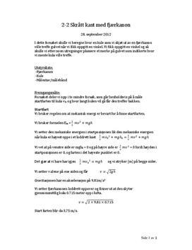 Skrått kast med fjærkanon: Forsøk 2-2 i Fysikk 2