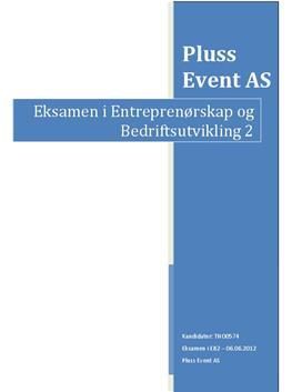 Pluss Event AS: Entreprenørskap og Bedriftsutvikling 2