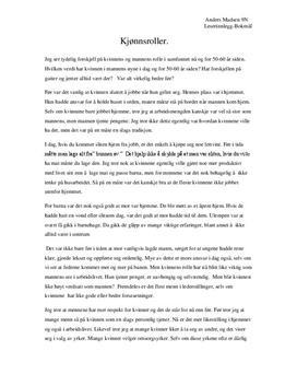 essay om kjønnsroller