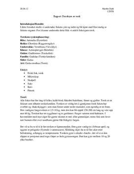 Rapport: Disseksjon av Torsk - Biologi