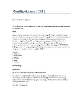 Notater til Eureka 5: Sola - Muntlig eksamen i Naturfag