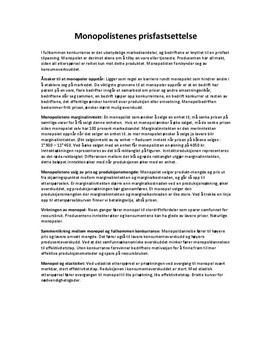 Monopol og Prisfastsettelse - Kap. 4 i Samfunnsøkonomi