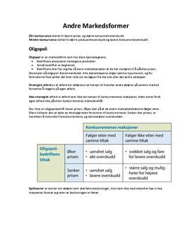 Oligopoler og Kartellavtaler - Kap. 5 i Samfunnsøkonomi