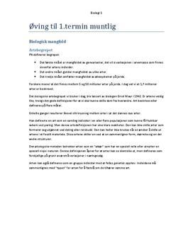 Sammendrag av Pensum i Biologi 1 - 1. Termin Bios 1 Cappelen