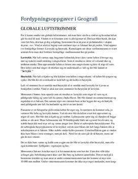 Fordypningsoppgave i Geografi om vær og klima