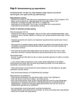 """""""Demokratisering og Nasjonalisme"""" - Notater til Kapittel 6"""
