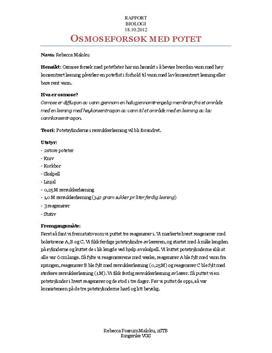Labrapport: Osmoseforsøk med Potet - Biologi