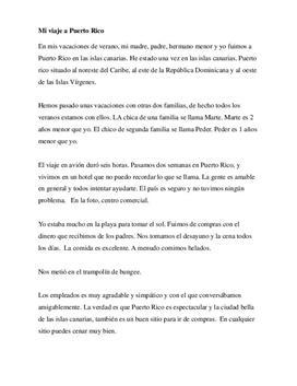 Spansk tekst om ferie i et spansktalende land - Puerto Rico