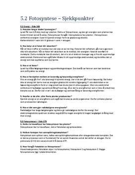 Sjekkpunkter til Fotosyntese - Kapittel 5.2 i Bi 2