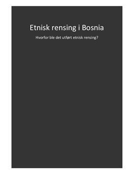 Etnisk rensing i Bosnia - Fagartikkel