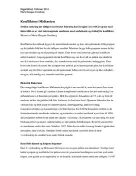 Konflikten i Midtøsten - Artikkel i Samfunnsfag