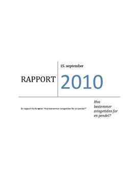 Labrapport: Svingetiden for en Pendel - Naturfag